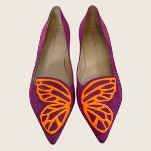 Sophia Webster Bibi Butterfly Wing Embroidered Pointed Toe Suede Flats